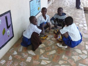 Deaf Pupils having lunch together